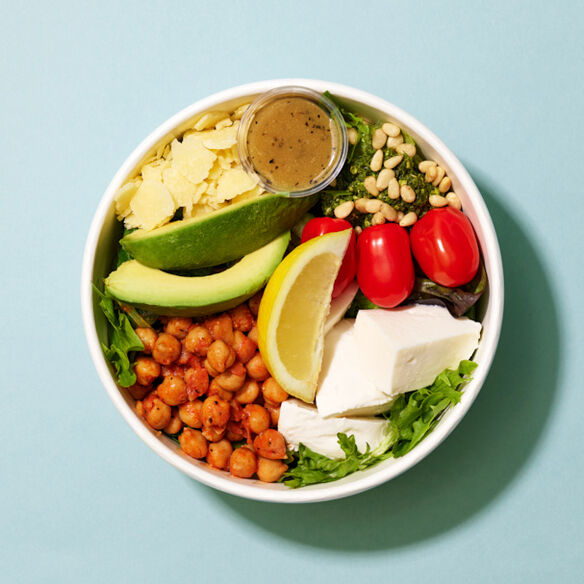 Roasted Chickpeas, Mozzarella & Pesto Salad Bowl